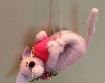 Festive Feisty Kitty Felted Wool Ornament - NEW for 2017