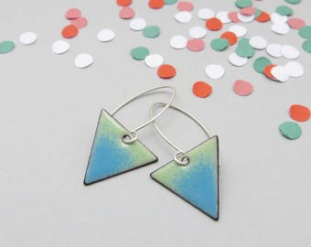 Blue Green Triangle Earrings - Arrow Earrings - Geometric Dangle Earrings - Geometric Jewelry - Gift for Sister