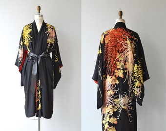 Hanabi silk wrapper   vintage 1920s silk robe   black floral 20s kimono