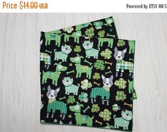 SALE St Patricks Day Irish Cloth Napkins Shamrocks Lucky Dogs Bones on Black Set of 4