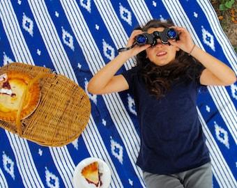 "Ready to Ship PICNIC BLANKET ""A Little Bit of Bali""- Blue Ikat Blanket, Beach Blanket, Beach Decor"
