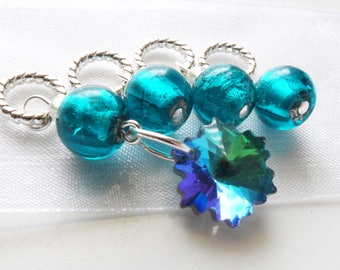 NEW - Fragmentary Blue - Four Handmade Stitch Markers - Fits Up To 5.5mm (9 US) - Limited Edition