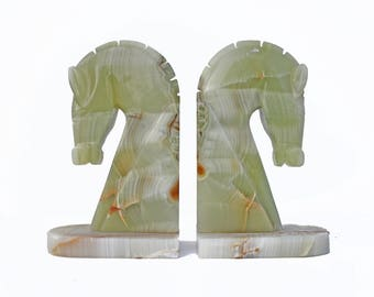 Vintage Marble Horse Book Ends / Pair