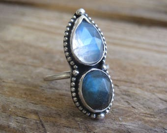 Labradorite Moonstone Ring, Statement Ring, Gift for Her, Cocktail Ring, Sterling Silver Ring, Fall Fashion