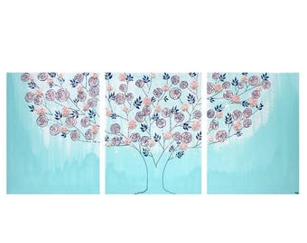 ON SALE Girl Nursery Canvas Art Painting - Textured Rose Tree Triptych in Aqua and Pink - Large 50x20