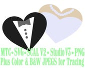 Wedding or Prom Or Anniversary Love Dress and Tuxedo Hearts Cut Files MTC SVG Format with B&W Traceable JPEG