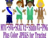 Paper Doll Bundle of 4 Girls in Uniform Cutting File SCAL v2 MTC SVG Cut File