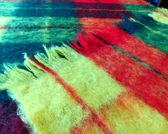 Vintage 50s 60s Pure 100% Mohair Blanket Throw Rainbow Plaid Red Green Yellow Hairy Rustic Camping Mid Century Home Decor Bedding 78x52
