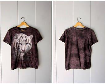 Vintage Tiger Tshirt 90s Black White Tiger Tee Shirt Grunge Novelty Shirt Urban Boho Hipster Animal Print Cotton Shirt Women Small