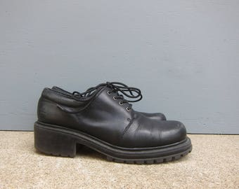 Black Leather Oxfords Chunky Tie Shoes ESPRIT Grunge Punk Lace Ups Womens Chunky Heels Shoes size 7.5