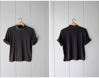 Vintage Plain Black Tshirt Basic Boxy Tee Simple Mock Neck Shirt Minimal Modern 90s Black Cotton Top Oversized Casual Tee Shirt Womens XL