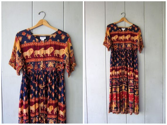 Tribal 90s Boho Dress Ethnic Print Bohemian Dress Button Front Sleeveless Dress Floral Hippie 80s Blue Red Rayon Indian Dress Womens Large