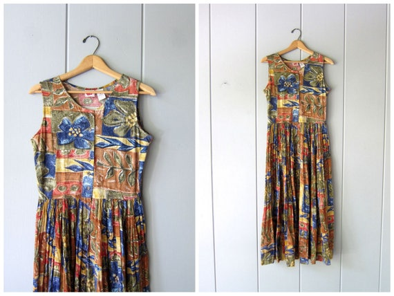 Vintage 90s Floral Dress Thin Cotton Gauze Midi Midi Sun Dress Summer Button Up Flower Print 1990s Frock Boho Preppy Womens Small Medium