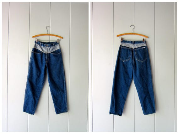 """80s Jeans Color Block Dark Wash Denim Jeans Tapered High Rise Mom Jeans High Waist Vintage 1980s Hipster Grunge DELLS Womens XS 25"""" 26"""""""