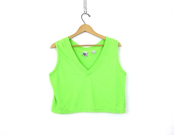 Basic LIME GREEN Tank Top Vintage Cropped TShirt Plain Muscle Tee Belly Top Vneck Shirt BOLD Tank Top Casual Tee Womens Size Large