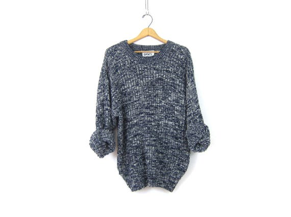 Oversized Blue Knit Sweater 90s Blue & White Marled Jumper Sweater Slouchy Sweater Unisex Top Men's Size Medium