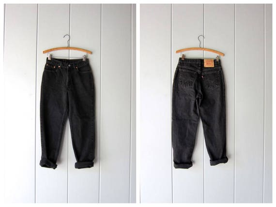"90s Black LEVIS Denim Jeans Straight Leg Slim Fit Jeans 80s Hipster Grunge Street Wear Punk Black Denim Work Jeans Womens 7 Jr. Waist 27"""