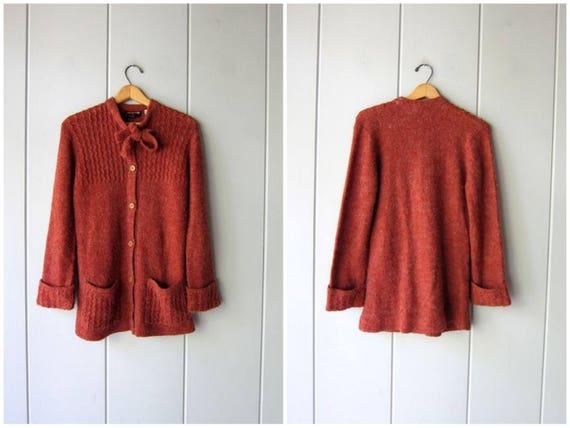 70s Cardigan Sweater Fall Tie Up Sweater Ascot Tie Orange Red Boho Long Knit Cardigan W Pockets Hippie Cozy Soft Sweater DELLS Womens Medium