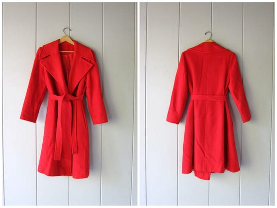 80s CASHMERE Wrap Coat Vintage Soft Wool RED Cashmere Belted Trench Coat Minimal Modern Winter Holiday Coat with Pockets Womens Medium