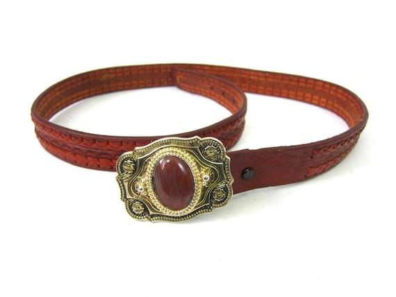 Brown Braided Leather RM Belt Southwestern Cowboy belt Gold Western Floral Belt Buckle Made in Mexico Men's Size 46