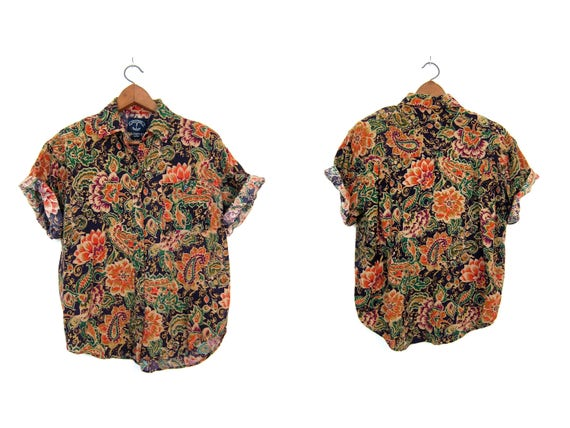 90s Floral Blouse Rayon Button Up Top Short Sleeve Crop Purple Orange Flower Print Tee Summer Casual Revival Shirt Vintage Womens Large