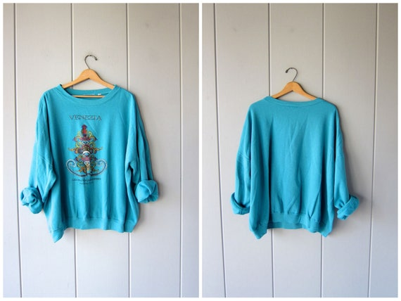 Vintage 80s Sweatshirt Long Sleeved Venezia ITALIA Shirt Oversized Turquoise Blue Sweatshirt Sporty Pullover Slouchy Baggy Womens 3XL 4XL