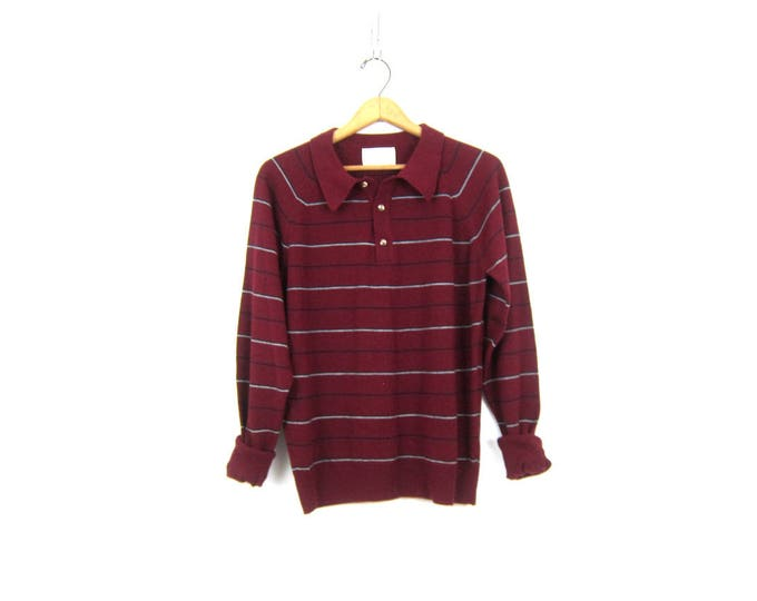 Vintage Stripe Sweater Thin Maroon Henley Pullover Knit Shirt Collared Shirt Sweater Striped Preppy Modern Sweater Size Medium