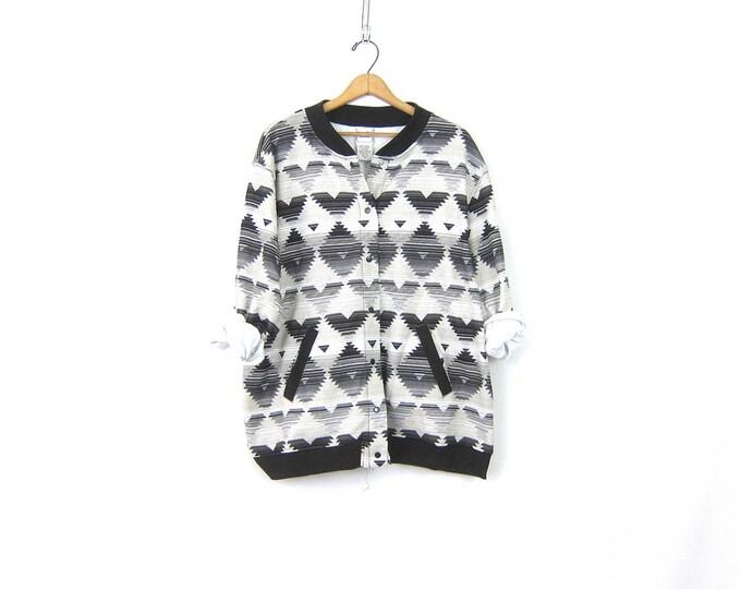 Tribal Print Sweatshirt Vintage Ethnic Snap Up Cardigan Slouchy Gray & Black Boho Southwestern Pocket Sweatshirt Women's Size XL