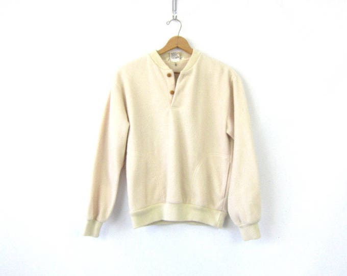 vintage fleece sweatshirt Pullover Off White blanket Ski Sweater jacket Henley Button Neck Unisex Size Medium