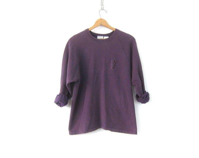Long Purple Sweatshirt Vintage Arizona Logo Sweater Plain Basic Sweater Minimal Shirt Top Women's Cotton Sweatshirt Size Large