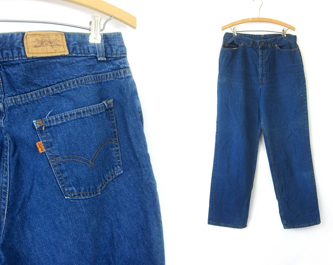Orange Tab LEVIS High Waist Blue Jeans Hipster Denim Wide Straight Leg Mom Jeans Hippie Vintage 1980s Bohemian Waist 34  x 31 Inch