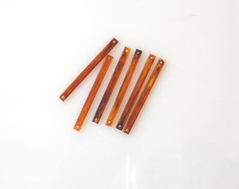 Long Rectangle Beads, Unique Amber Long Beads, Vintage Very Long Acrylic Beads, Long Brown Beads, Plastic Amber Beads, 2 holes,10