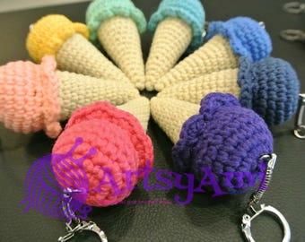 Handmade Crochet Amigurumi - Ice Cream Cone Keychain