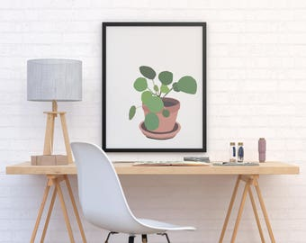 minimal succulent plant illustration art print. Fine art print. modern abstract illustration. tropical green botanical plant in terracotta