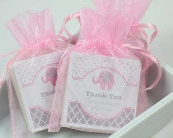 Baby Shower Favors, baby elephant shower soap favors, elephant favors, pink shower favors