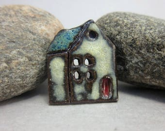 Rustic Ceramic House Button...Village School...Midnight Blue Roof