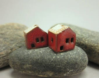 READY TO SHIP...Miniature Terracotta House Beads...Set of 2...Red Walls/Eggshell Roof