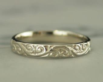 Gold Band~White Gold Ring~Women's Wedding Band~Women's Wedding Ring~Women's Gold Band~Women's Gold Ring~10K Flourish Band~Gold Ring~Swirl