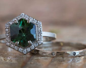 One of a Kind Natural Green Tourmaline Hexagon Ring with Pavé Halo