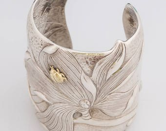 Rare Tiffany & Co Magnolia Sterling Silver 18K Gold Cuff - Vintage