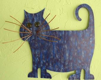 Metal Wall Art Cat Sculpture Recycled Metal Kitty Wall Decor Purple Cobalt Blue Fat tabby Cat Indoor Outdoor Wall Art Cat Lover 13 x 13