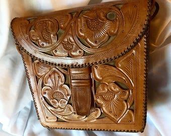 Vintage Tooled Genuine Leather Arm Bag Purse
