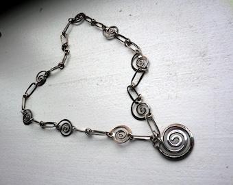 Vintage 1970s Straub Sterling Swirl Necklace - All Sterling - Modern