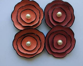 50% OFF SALE 4 pcs Jewelry supplies leather flowers for pendants, necklaces, brooches, shoes clips etc Handmade supplies