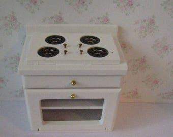 SALE, dollhouse stove, white stove, single stove, cooker, dollhouse cooker.Oven, twelfth scale, dollhouse miniature