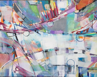 Contemporary colorful acrylic abstract painting by Marty Husted