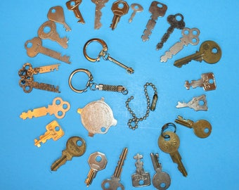 Vintage Flat Keys Plus One Pocket Screw Driver,, 1900;s and Forward