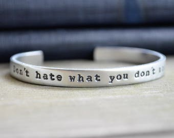 Don't Hate What You Don't Understand Bracelet - John Lennon Quote - Beatles Bracelet - Equality For All - Human Rights - Equal Rights