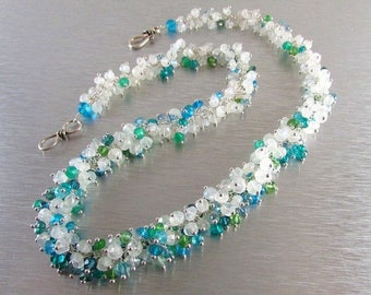 25 OFF Moonstone Cluster Necklace, Moonstone and Assorted Blue and Green Gemstone Sterling Necklace