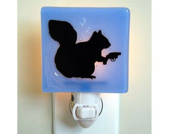 Squirrel Night Light - Funny Gift - Hand Painted Fused Glass